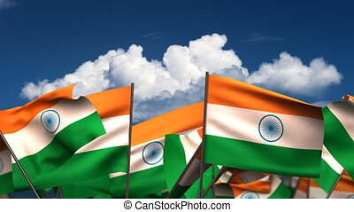 Waving Indian Flags seamless alpha channel