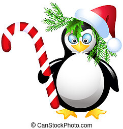 Penguin with Christmas candy and Santa hat