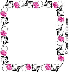 Decorative flowers frame with pink roses