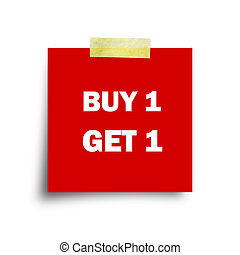 Buy one get one free, promotional sale stickers set on red...