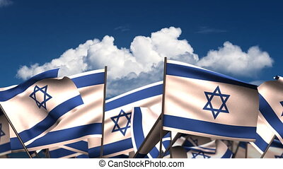 Waving Israeli Flags (seamless & alpha channel)