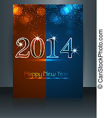Fantastic new year 2014 colorful template brochure design