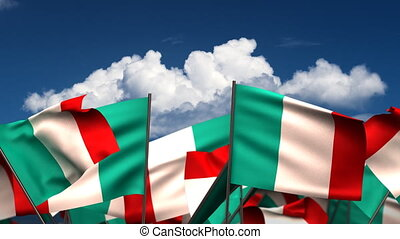 Waving Italian Flags seamless alpha channel