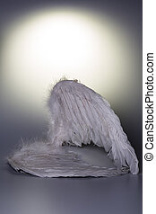 angel's, wings, white, background, glow