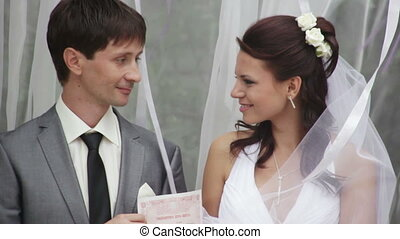 Bride and groom received a document