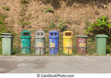 Colorful bins Arranged in a row For various types of waste...