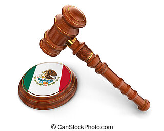 Wooden Mallet and Mexican flag - 3d wooden mallet and...