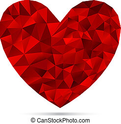 Heart from Triangles - Textured Heart Sign, Heart Shape...