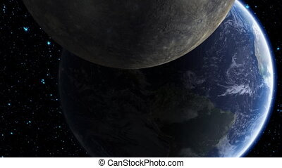 Asteroid Hitting Earth - A view from space as a large,...