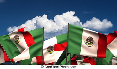 Waving Mexican Flags seamless alpha channel