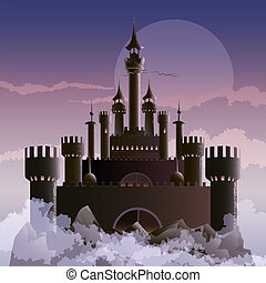 The dark castle - Illustration with dark castle on the...