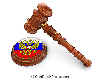 Wooden Mallet and Russian flag - 3d wooden mallet and...
