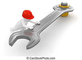 trabajador, llave inglesa, perno