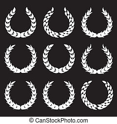 white laurel wreaths 1 isolated on black backgrounds