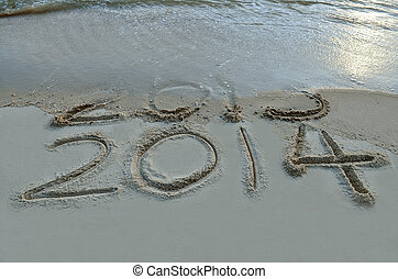 New Year 2014 is coming concept - inscription 2013 and 2014...