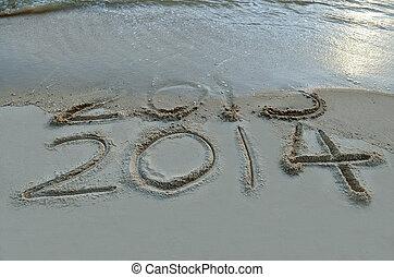 cyfry, napis, Pojęcie, nadchodzący, osłona, Piasek,  -, nowy, machać, rok,  2014, Plaża, początkowy,  2013