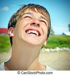 feliz, Adolescente, retrato