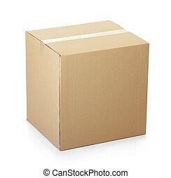 fechado, papelão, caixa, gravado, cima