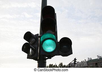 verde, tráfico, luz