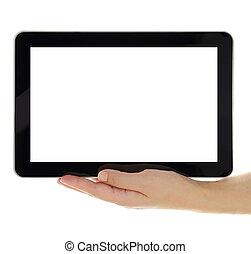 女性, 片劑, 屏幕, 被隔离, 手, 藏品, 空白, 水平