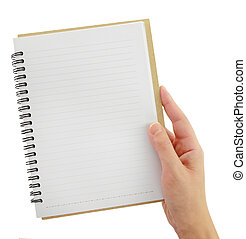 Hand holding blank notebook template isolated on white