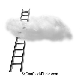 Stairs with cloud isolated on white, business success...