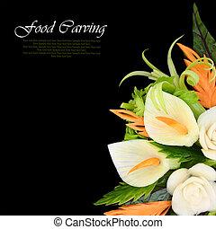 Elegant bouquet carved from vegetables on black background