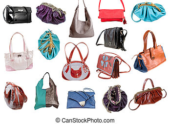 collection of ladies bags isolated on white background