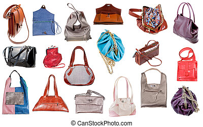 collection of ladies handbags isolated on white background