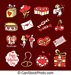 set of icons for St. Valentine's Day