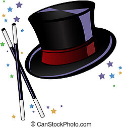 Magicians top hat and wand with stars vector illustration