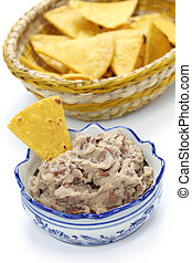 homemade frijoles, tortilla chips - homemade frijoles with...