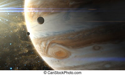 Jupiter Storm and Moons - Two moons pass in front of...