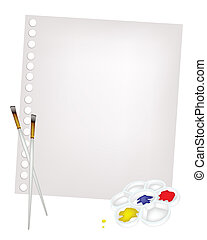 Color Paint in Palette with Brushes and Blank Paper