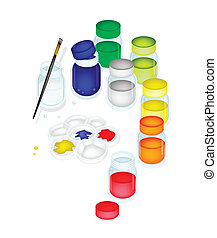 Color Paint Jars and Palette with A Brush
