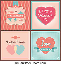 Happy Valentine's Day Card Set - Typographical Background....