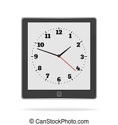 E book on white background with clock