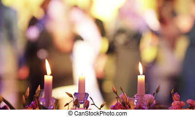 Jewish wedding - Standing on the table candles on the...