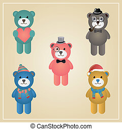 Winter Hipster Teddy Bear Illustration - Cute Winter Funny...