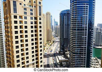 The view on Dubai city from skyscraper, Dubai, UAE