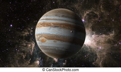 Planet Jupiter with Europa - An orbiting shot of planet...
