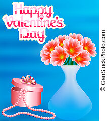 illustration card with flowers and a necklace with a Happy Valen