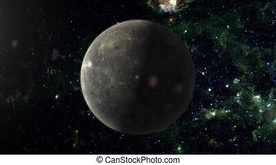 Planet Mercury - An orbiting shot of planet Mercury in...