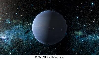 Planet Neptune - An orbiting shot of planet Neptune in...