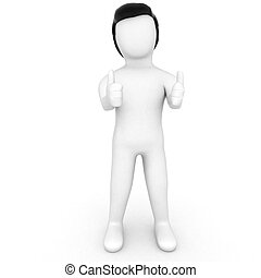 YES- 3d Character with Thumbs up - 3d human showing approval...