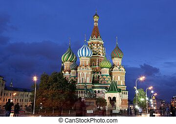 Night view of Intercession Cathedral St Basils on Red...