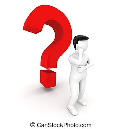 3d human standing beside question mark - 3d human standing...