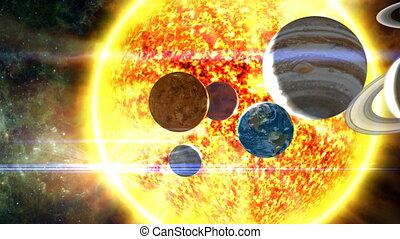 Planets of the Solar System - A surreal, orbiting shot of...