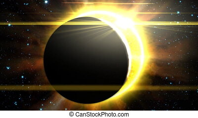 Solar Eclipse 1 - Silhouette of a planet or the moon as it...