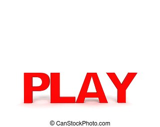 three dimensional front view of play text